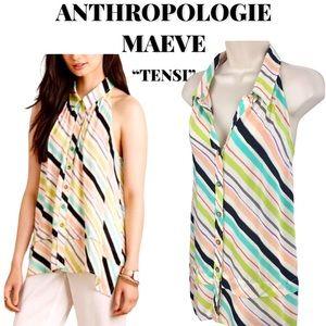 "EUC Anthropologie Maeve ""Tensi"" Stripe Top, Size 4"